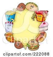 Royalty Free RF Clipart Illustration Of A Frame Of Happy Fast Foods Around A Yellow Oval