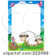 Royalty Free RF Clipart Illustration Of Sheep By An Easter Basket Frame Around White Space