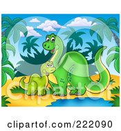 Royalty Free RF Clipart Illustration Of A Cute Mother And Baby Brontosaurus Dinos Sitting By A Water Hole In A Tropical Landscape