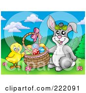 Royalty Free RF Clipart Illustration Of A Chick And Easter Bunny Putting Eggs In A Basket