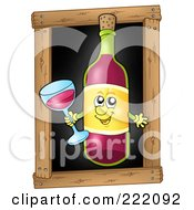 Red Wine Bottle Holding A Glass Over A Black Board