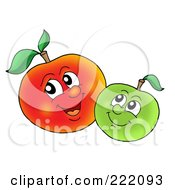 Two Happy Apples Smiling