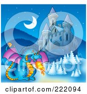 Royalty Free RF Clipart Illustration Of A Blue Fire Breathing Dragon Near A Castle 3