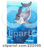 Royalty Free RF Clipart Illustration Of A Grinning Shark Swimming Above A Sunken Ship In The Deep Sea