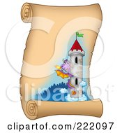 Royalty Free RF Clipart Illustration Of A Guardian Dragon With A Tower On A Vertical Parchment Page