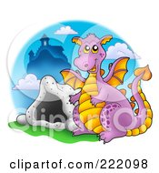 Royalty Free RF Clipart Illustration Of A Purple Dragon Near A Cave And Castle 1