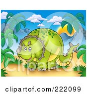 Royalty Free RF Clipart Illustration Of A Cute Green Spotted Triceratops In A Tropical Mountainous Landscape