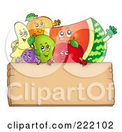 Happy Fruit Waving Over A Blank Wooden Sign