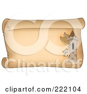 Royalty Free RF Clipart Illustration Of A Guardian Dragon With A Tower On A Horizontal Parchment Page