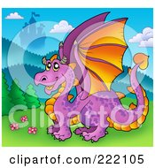 Royalty Free RF Clipart Illustration Of A Happy Purple Dragon Near A Castle by visekart