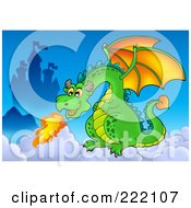 Royalty Free RF Clipart Illustration Of A Green Dragon Near A Castle In The Sky 3