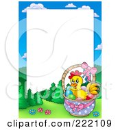 Royalty Free RF Clipart Illustration Of A Chicken In An Easter Basket Frame Around White Space