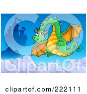 Royalty Free RF Clipart Illustration Of A Green Dragon Near A Castle In The Sky 1