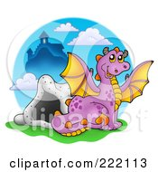 Royalty Free RF Clipart Illustration Of A Purple Dragon Near A Cave And Castle 2