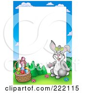 Royalty Free RF Clipart Illustration Of A Rabbit By An Easter Basket Frame Around White Space