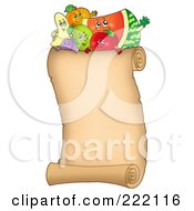 Royalty Free RF Clipart Illustration Of Happy Fruit On A Vertical Parchment Page