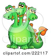 Royalty Free RF Clipart Illustration Of A Cute Green Three Headed Dragon Smiling by visekart