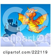 Royalty Free RF Clipart Illustration Of An Orange Fire Breathing Dragon Near A Castle In The Sky