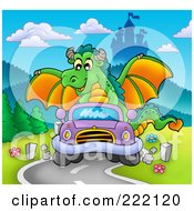 Royalty Free RF Clipart Illustration Of A Green Dragon Driving A Car Near A Castle by visekart