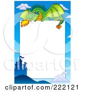 Royalty Free RF Clipart Illustration Of A Green Fire Breathing Dragon Above A Castle Frame Around White Space