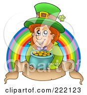 Royalty Free RF Clipart Illustration Of A Leprechaun Holding A Pot Of Gold In Front Of A Rainbow Above A Parchment Banner