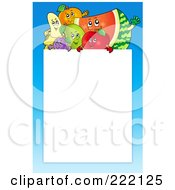 Royalty Free RF Clipart Illustration Of A Happy Fruit And Blue Frame Around White Space