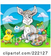 Royalty Free RF Clipart Illustration Of A Chick And Easter Bunny Painting Eggs By A Basket