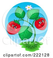 Royalty Free RF Clipart Illustration Of A Happy Strawberry Plant Smiling