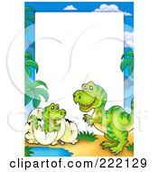 Royalty Free RF Clipart Illustration Of A Cute Mother And Hatching T Rex Frame Around White Space
