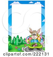 Royalty Free RF Clipart Illustration Of An Easter Bunny Driving Frame Around White Space