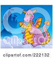 Purple Dragon Near A Castle In The Clouds - 2