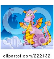 Royalty Free RF Clipart Illustration Of A Purple Dragon Near A Castle In The Clouds 2
