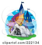 Purple Dragon Near A Cave And Castle - 3