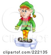 Royalty Free RF Clipart Illustration Of A Christmas Elf Standing On A Piece Of Ice