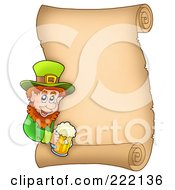 Royalty Free RF Clipart Illustration Of A St Patricks Day Parchment Page With A Leprechaun by visekart