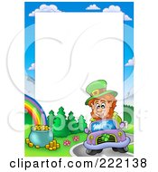 Royalty Free RF Clipart Illustration Of A Leprechaun Driving A Car By A Rainbow And Pot Of God Frame Around White Space by visekart