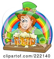 Royalty Free RF Clipart Illustration Of A Leprechaun With Beer Mugs In Front Of A Rainbow by visekart