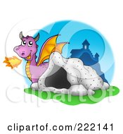 Royalty Free RF Clipart Illustration Of A Purple Fire Breathing Dragon Near A Cave And Castle 1