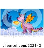 Royalty Free RF Clipart Illustration Of A Purple Fire Breathing Dragon Near A Castle 4
