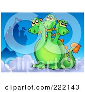Royalty Free RF Clipart Illustration Of A Three Headed Dragon Near A Castle In The Sky