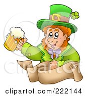 Royalty Free RF Clipart Illustration Of A Leprechaun Holding A Beer Above A Parchment Banner by visekart