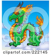 Royalty Free RF Clipart Illustration Of A Profiled Chinese Dragon On Clouds In The Sky