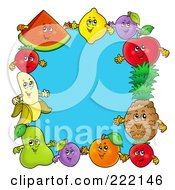 Royalty Free RF Clipart Illustration Of A Frame Of Happy Fruit Around Blue