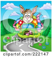 Royalty Free RF Clipart Illustration Of An Easter Bunny Driving A Green Car Full Of Eggs On A Windy Road by visekart