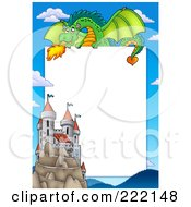 Royalty Free RF Clipart Illustration Of A Green Dragon Above A Castle Frame Around White Space by visekart