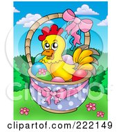 Royalty Free RF Clipart Illustration Of A Cute Easter Chicken In A Basket Of Eggs