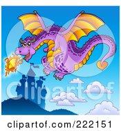 Purple Fire Breathing Dragon Near A Castle - 3