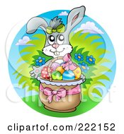 Royalty Free RF Clipart Illustration Of An Easter Bunny In A Basket Of Eggs Over A Sky Circle