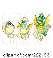 Royalty Free RF Clipart Illustration Of A Digital Collage Of A Dragon In Three Stages Of Hatching