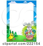 Royalty Free RF Clipart Illustration Of A Rabbit And Chick By An Easter Basket Frame Around White Space